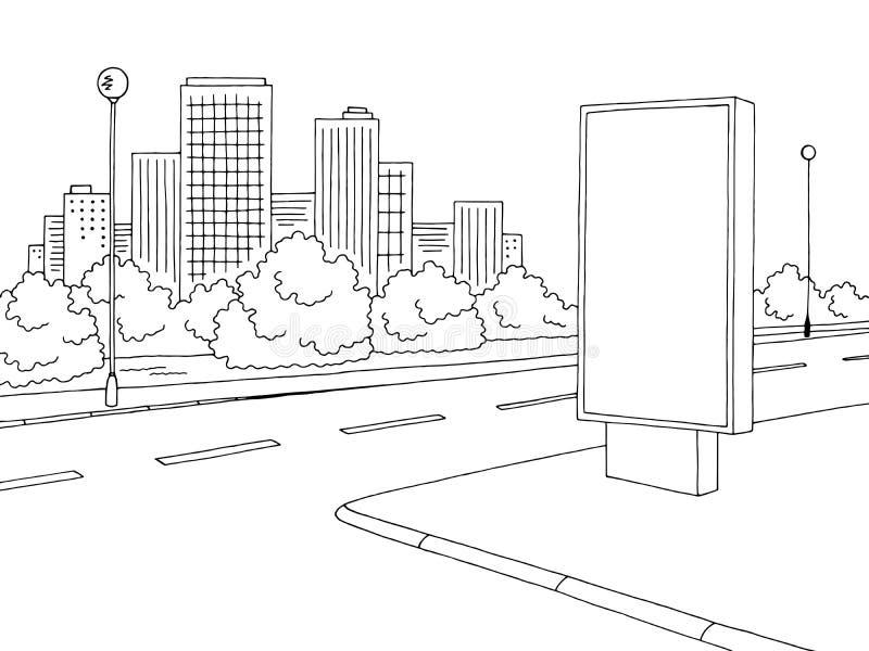 Vetor branco preto gráfico da ilustração do esboço da paisagem da cidade do quadro de avisos da estrada da rua ilustração stock