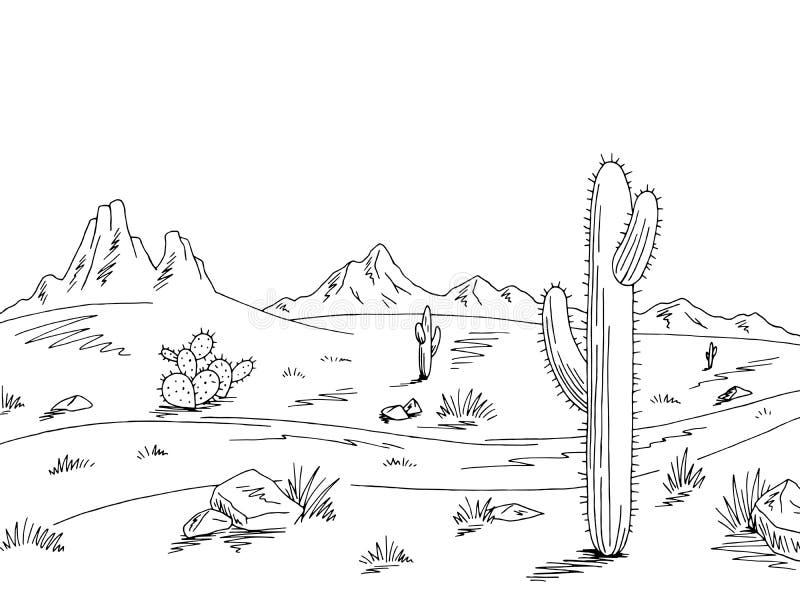 Vetor branco preto gráfico da ilustração do esboço da paisagem do deserto da estrada da pradaria ilustração stock