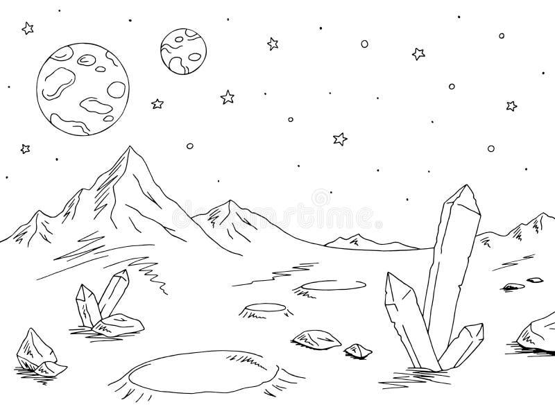 Vetor branco preto gráfico da ilustração do esboço da paisagem do espaço do planeta estrangeiro ilustração royalty free