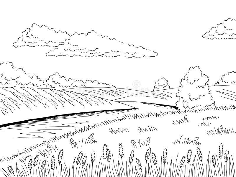 Vetor branco preto gráfico da ilustração do esboço da paisagem do rio do campo ilustração do vetor