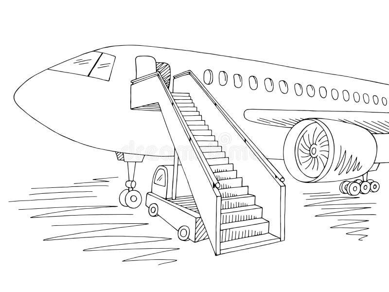 Vetor branco preto gráfico exterior da ilustração do esboço dos aviões ilustração stock