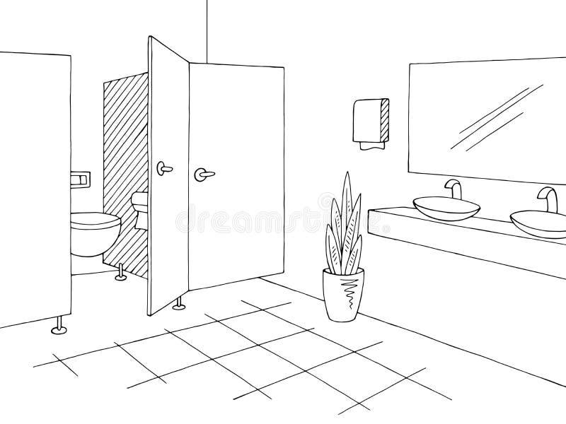 Vetor branco preto interior gráfico da ilustração do esboço do toalete público ilustração do vetor