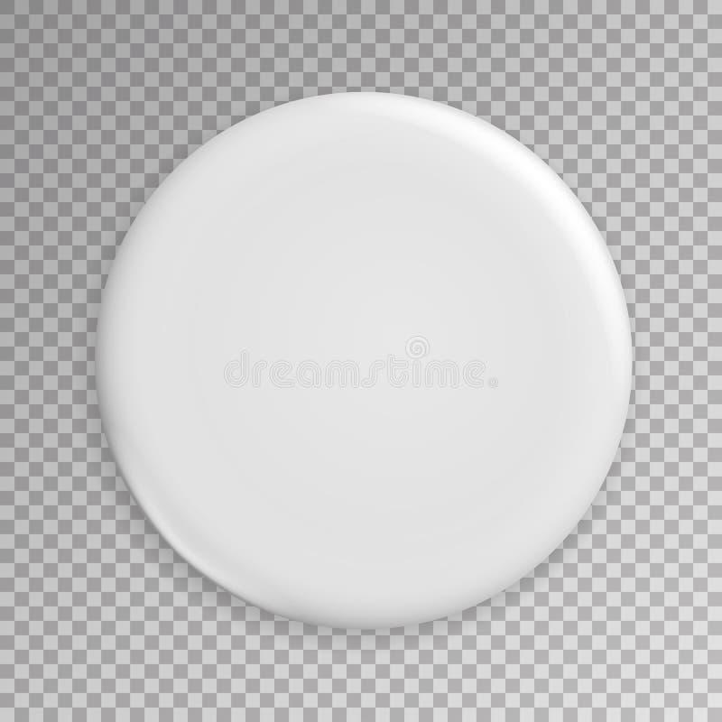 Vetor branco vazio do crachá Ilustração realística Limpe Pin Button Mock Up vazio ilustração royalty free