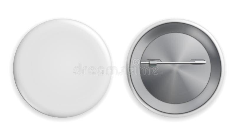 Vetor branco vazio do crachá Ilustração realística Limpe Pin Button Mock Up vazio Isolado ilustração royalty free