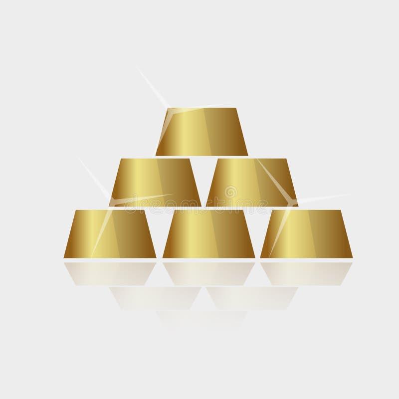 Vetor brilhante caro da pirâmide dos tijolos do ouro ilustração stock