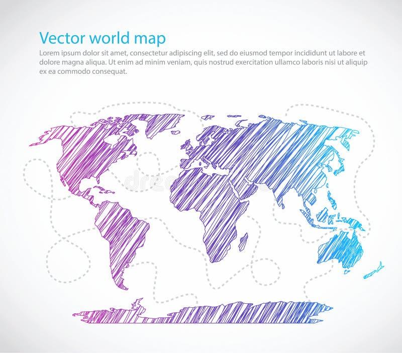 Vetor brilhante do molde do mar do mapa do mundo ilustração stock