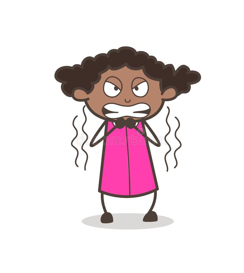 Vetor cômico muito irritado da expressão da moça ilustração do vetor