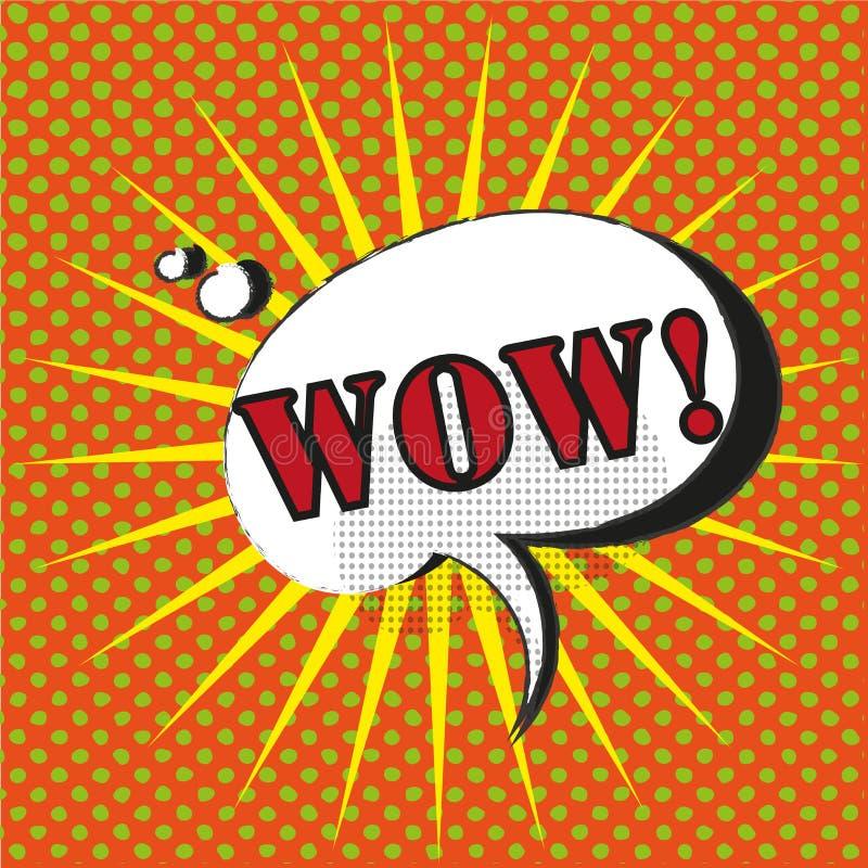 Vetor cômico do estilo do pop art da bolha do discurso do wow com estrela ilustração stock