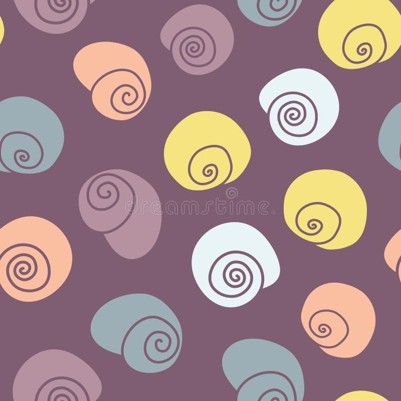 Vetor Caracóis Cheerful em fundo de padrão sem soldadura roxo ilustração stock