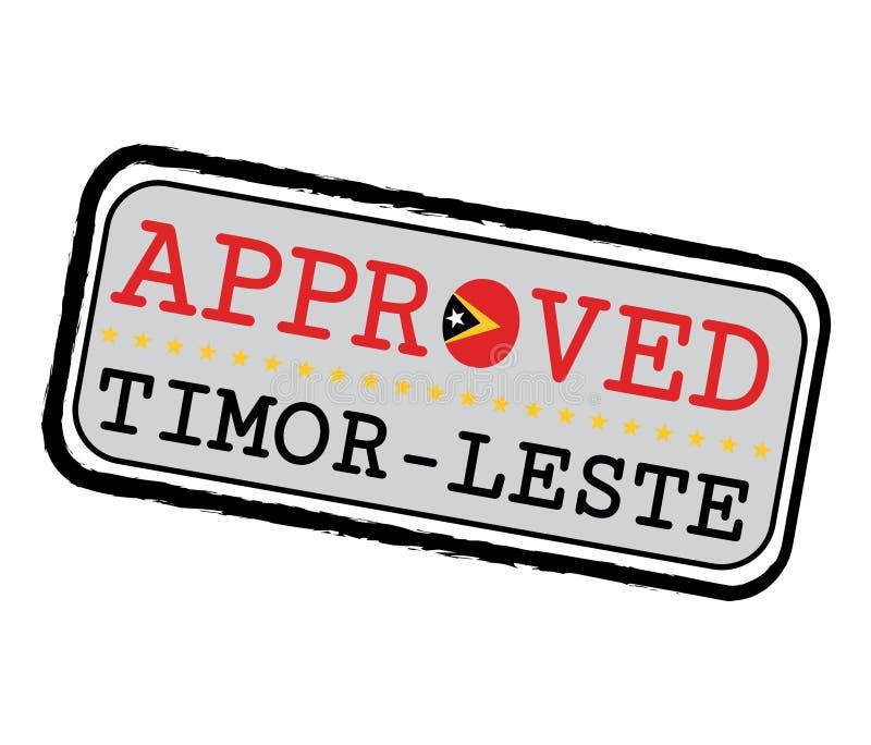 Vetor Carimbo de logotipo aprovado com bandeira de Timor-Leste em forma de O e texto Timor-Leste ilustração do vetor
