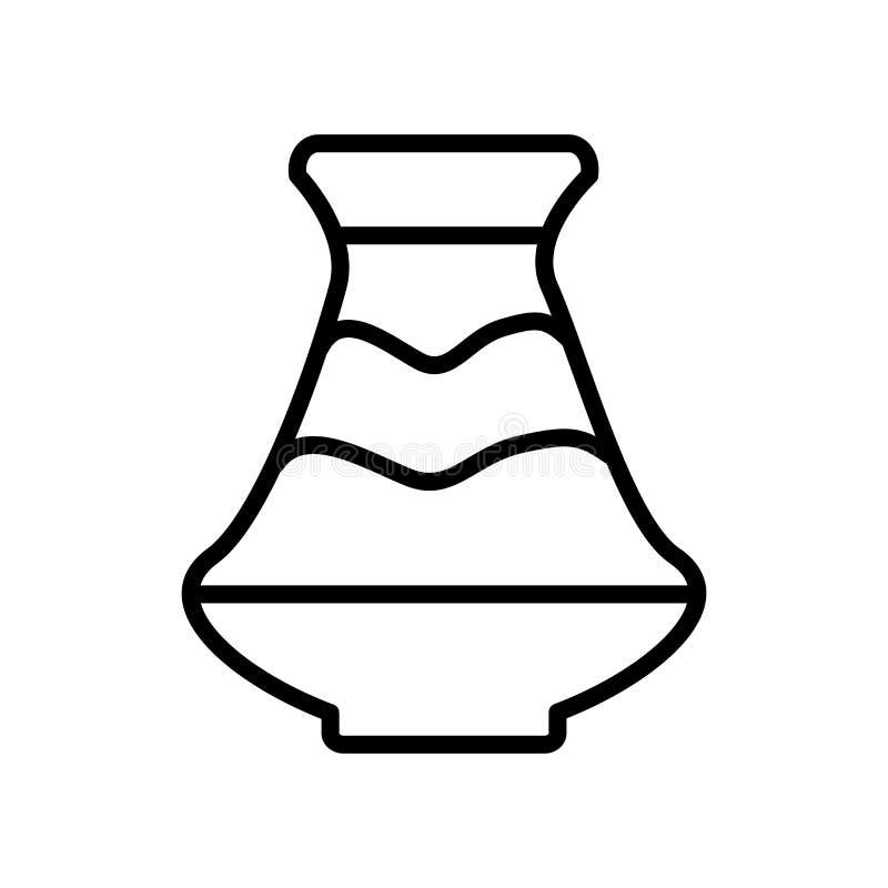 Vetor cerâmico do ícone do vaso isolado no fundo branco, V cerâmico ilustração royalty free