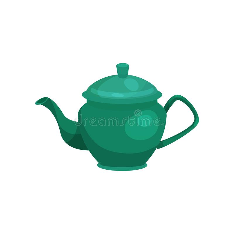 Vetor cerâmico verde Ilustration do bule ilustração stock