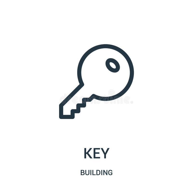 vetor chave do ícone da coleção da construção Linha fina ilustração do vetor do ícone do esboço da chave ilustração stock