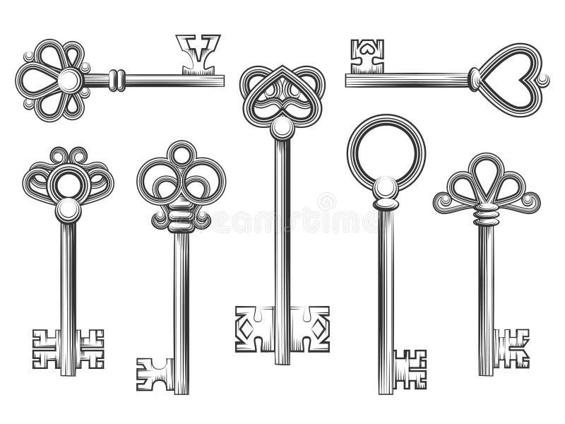 Vetor chave do vintage ajustado no estilo da gravura ilustração royalty free
