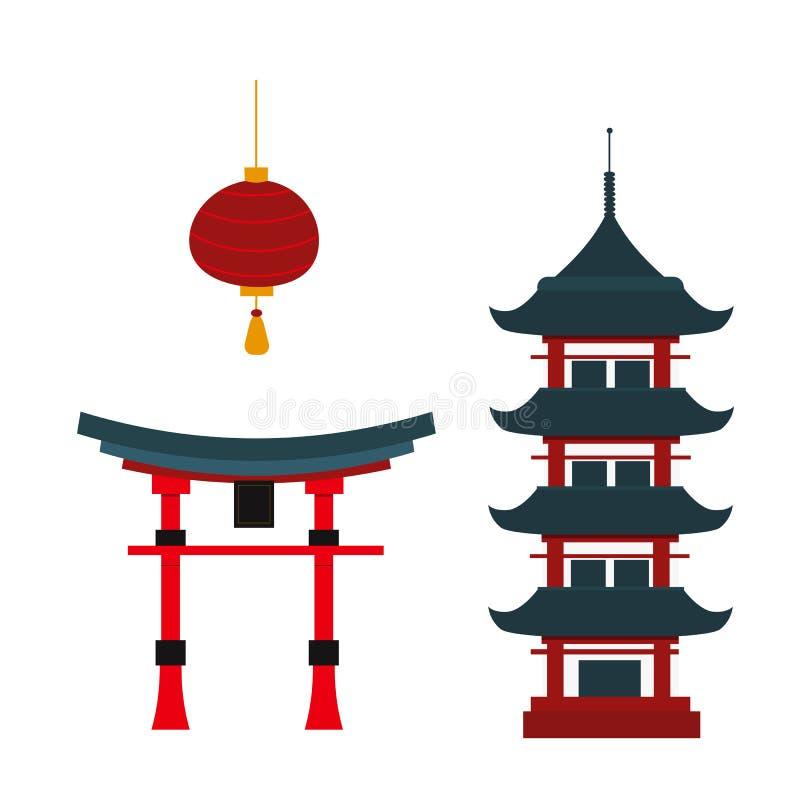 Vetor chinês do templo dos marcos bonitos do curso ilustração stock