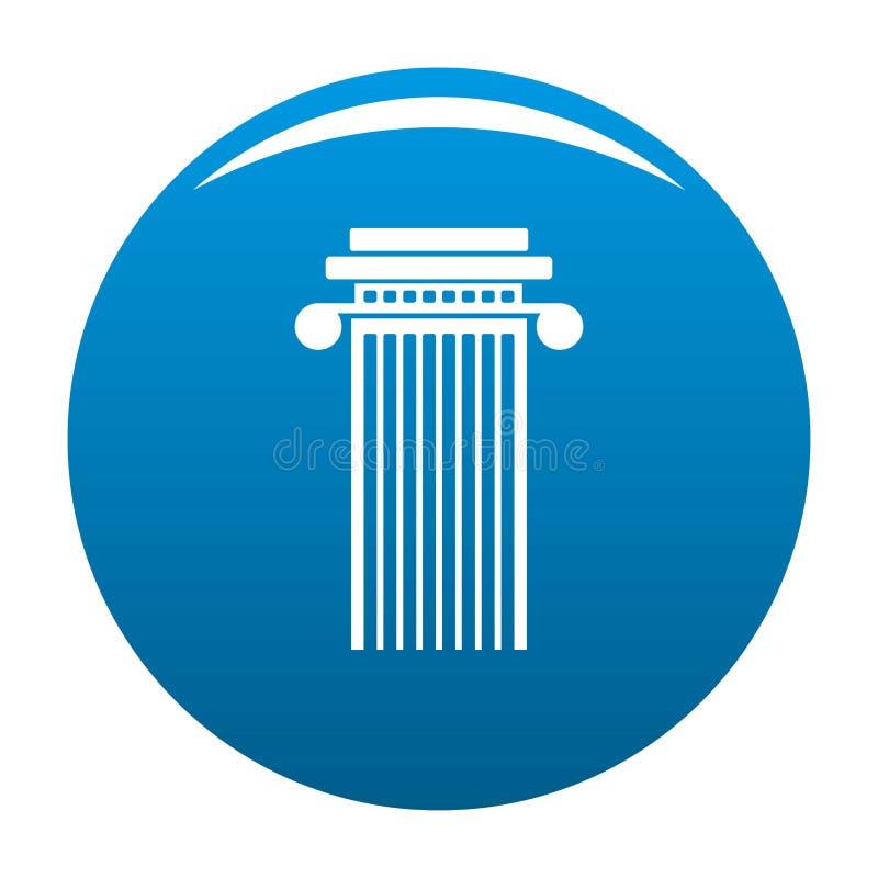 Vetor cilíndrico do azul do ícone da coluna ilustração stock