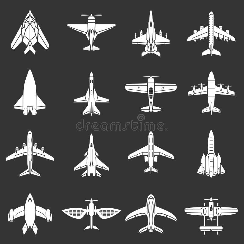 Vetor cinzento ajustado ícones da opinião superior do avião ilustração royalty free