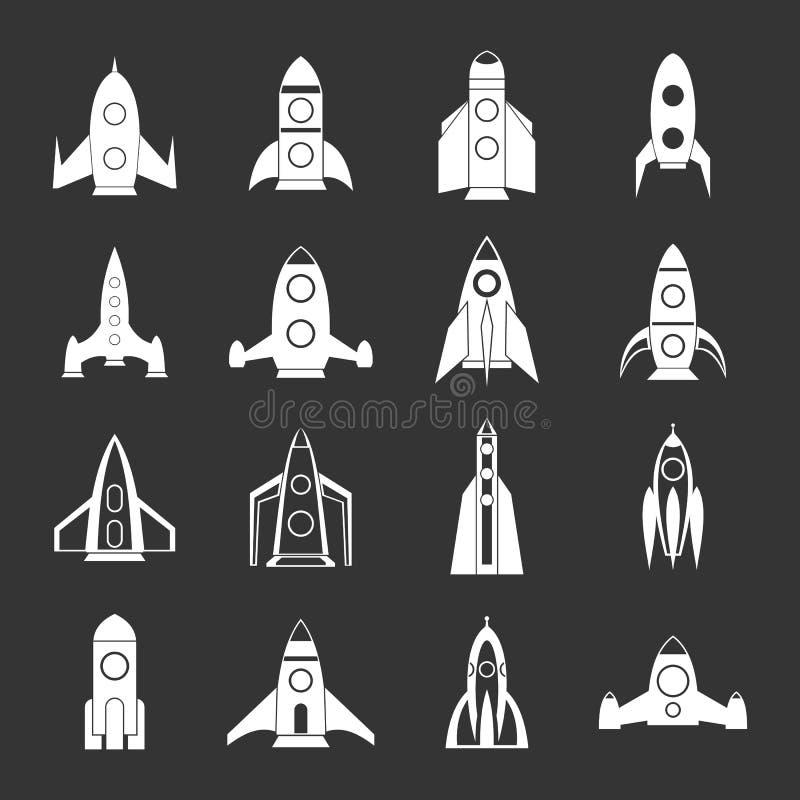 Vetor cinzento ajustado ícones de Rocket ilustração do vetor