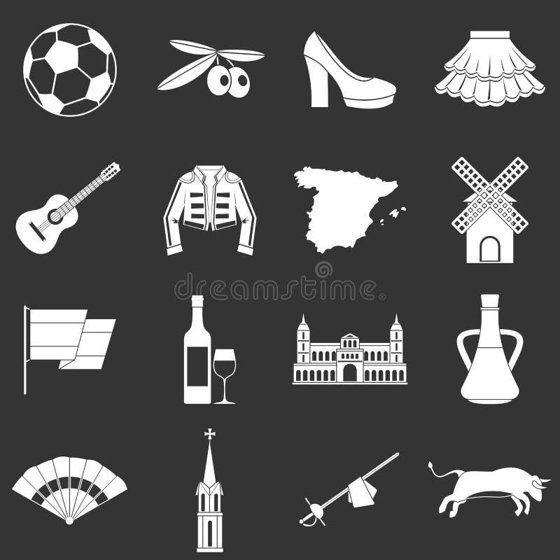 Vetor cinzento ajustado ícones do curso da Espanha ilustração stock