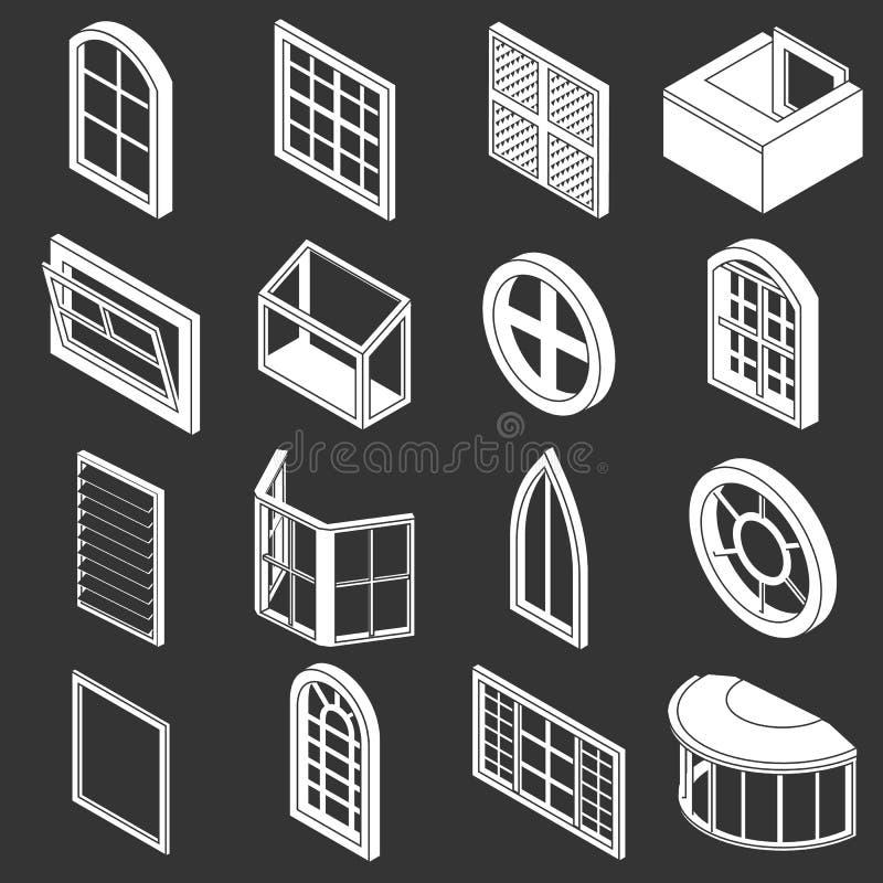 Vetor cinzento ajustado ícones dos formulários da janela ilustração do vetor