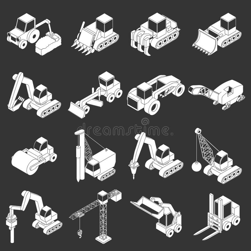 Vetor cinzento ajustado ícones dos materiais de construção ilustração stock