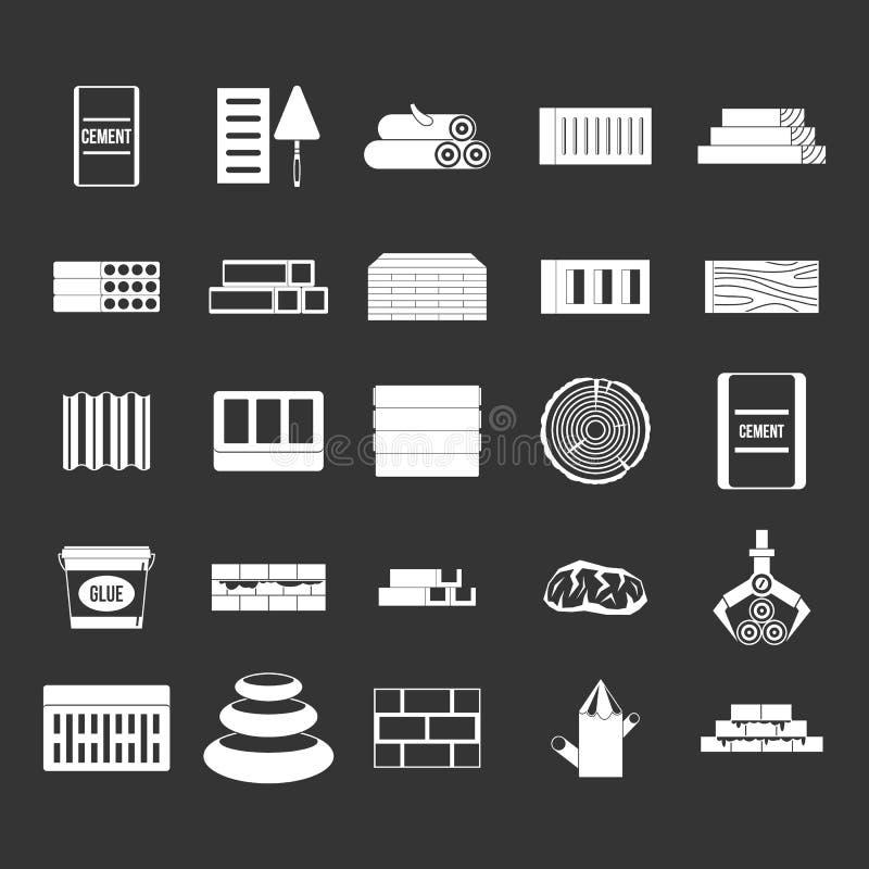 Vetor cinzento ajustado do ícone dos materiais de construção ilustração stock