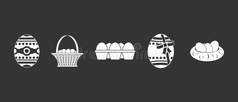 Vetor cinzento ajustado do ícone dos ovos ilustração royalty free