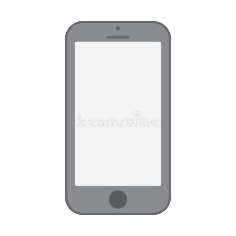Vetor cinzento eps10 do sinal da opinião dianteira do telefone celular ?cone cinzento do smartphone no fundo branco ilustração royalty free