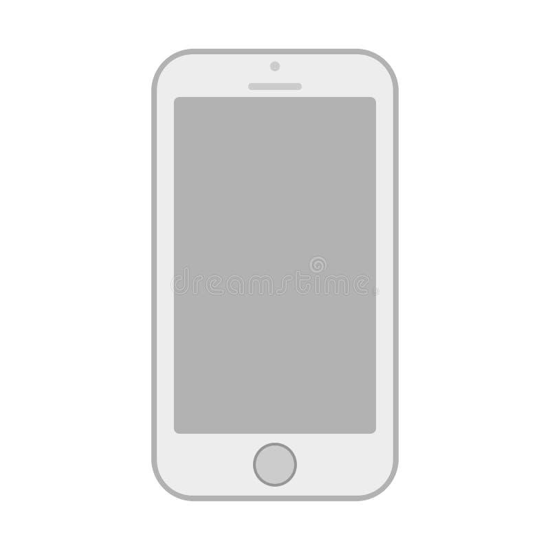 Vetor cinzento eps10 do sinal do telefone celular ?cone cinzento do smartphone no fundo branco ilustração royalty free