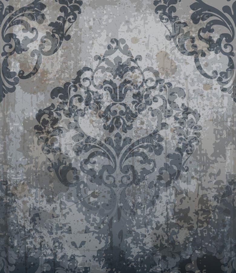 Vetor clássico barroco do ornamento do teste padrão do damasco Fundo real da tela Cores luxuosas do cinza das decorações ilustração royalty free