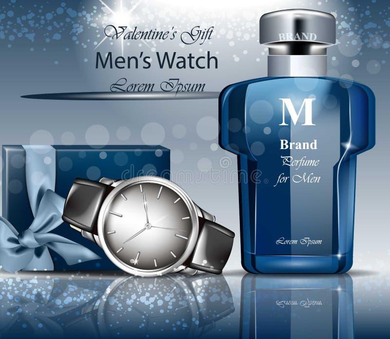 Vetor clássico do relógio e do perfume do homem zombaria detalhada 3d acima Fundos azuis ilustração do vetor