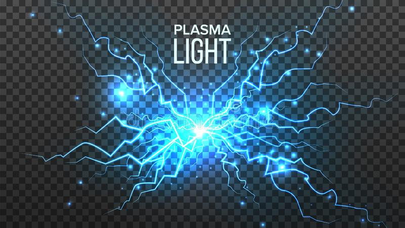 Vetor claro do plasma Energia eléctrica Efeito da energia Parafuso azul da faísca Ilustração transparente isolada realística ilustração do vetor