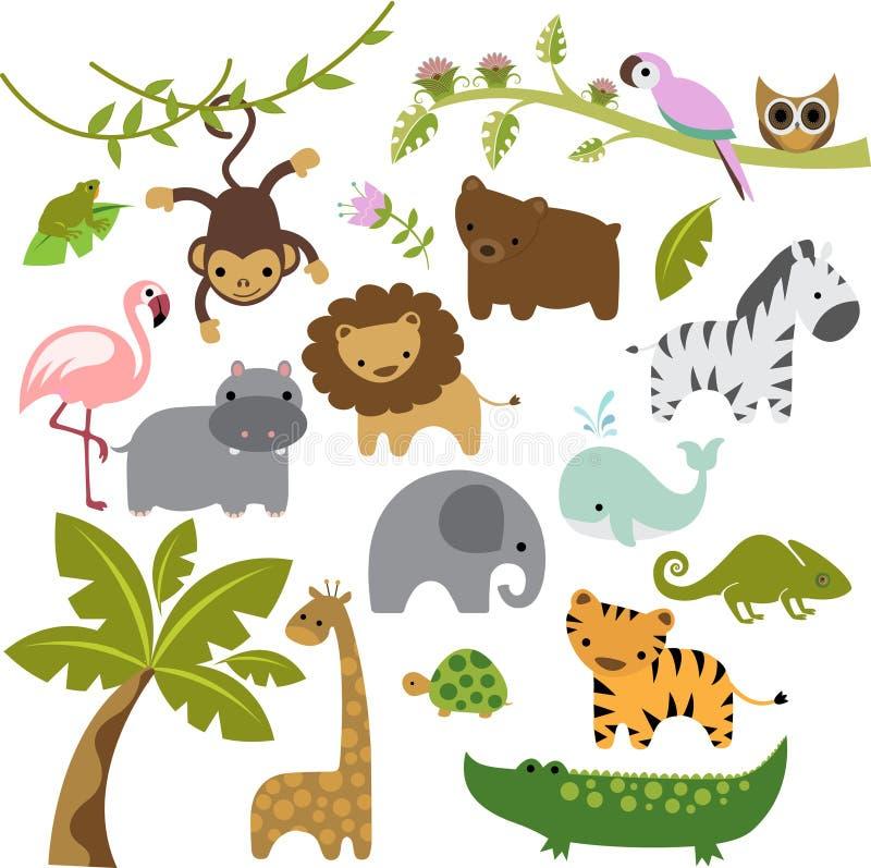 Vetor Clipart dos animais do jardim zoológico do bebê ilustração do vetor