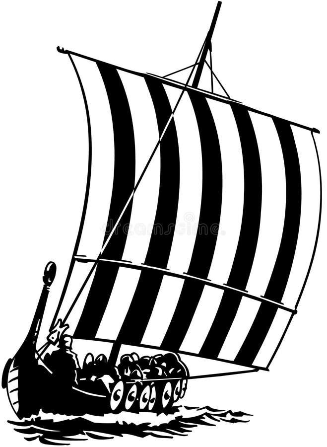 Vetor Clipart dos desenhos animados do barco do navio da vela fotografia de stock
