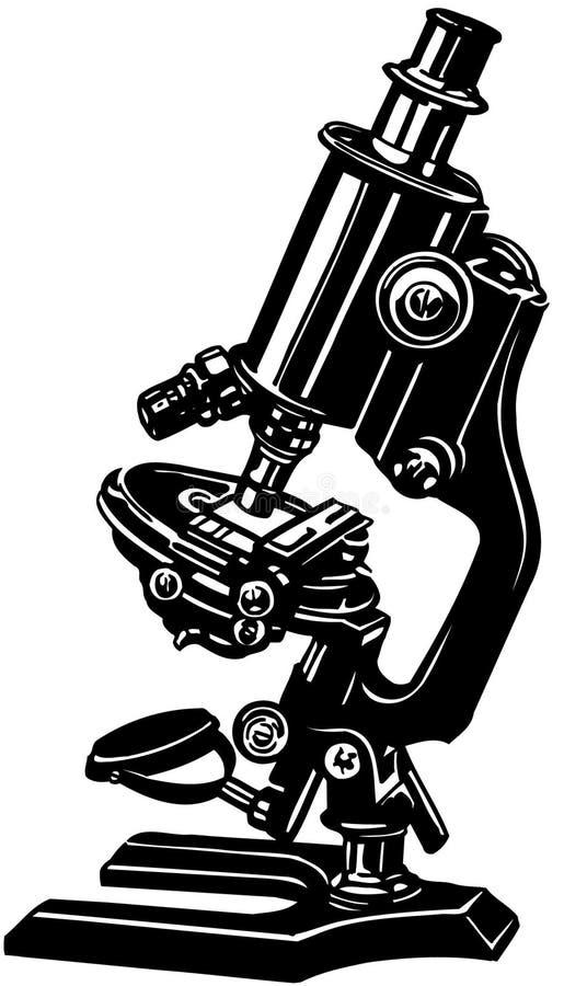 Vetor Clipart dos desenhos animados do microscópio da ciência foto de stock