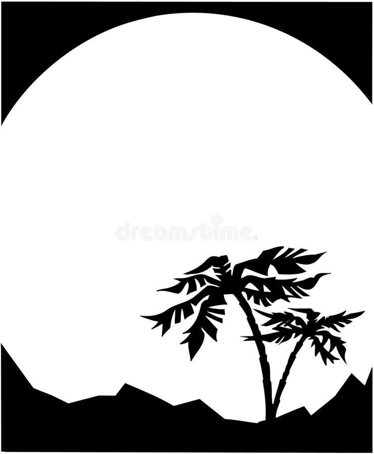 Vetor Clipart dos desenhos animados do molde da ilha das palmeiras imagens de stock royalty free