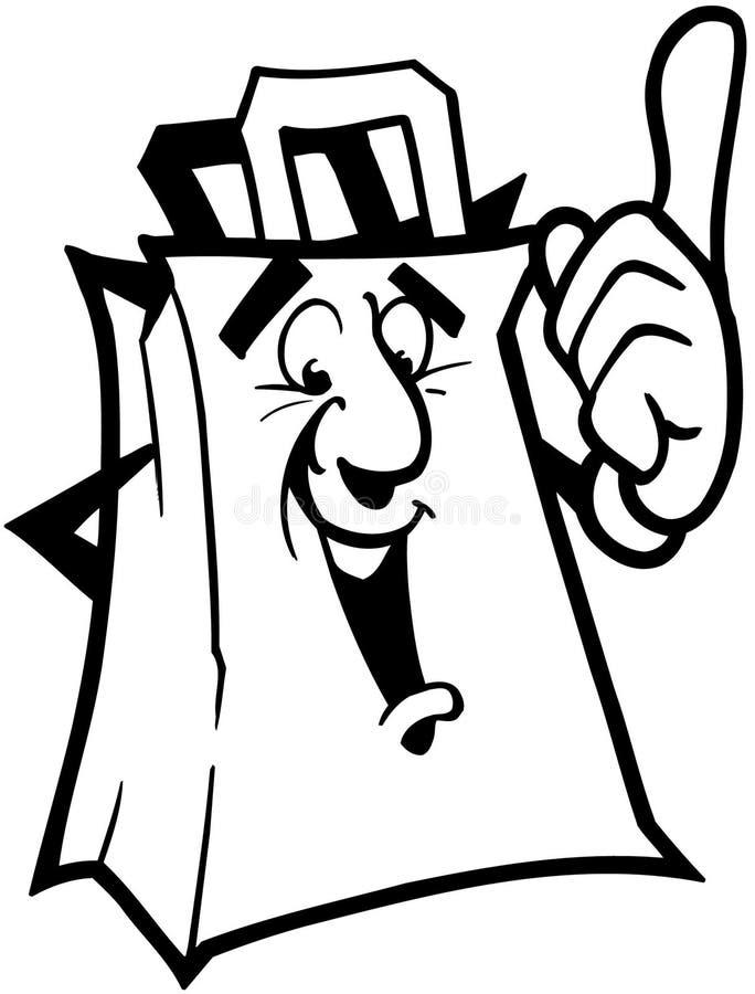 Vetor Clipart dos desenhos animados do saco de mantimento foto de stock royalty free