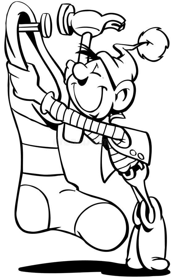 Vetor Clipart dos desenhos animados dos presentes dos duendes foto de stock royalty free