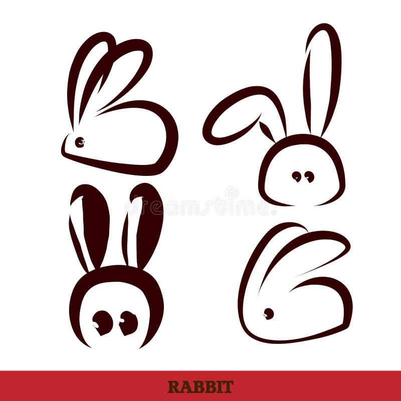 Vetor: coelho, escrita da mão ilustração royalty free