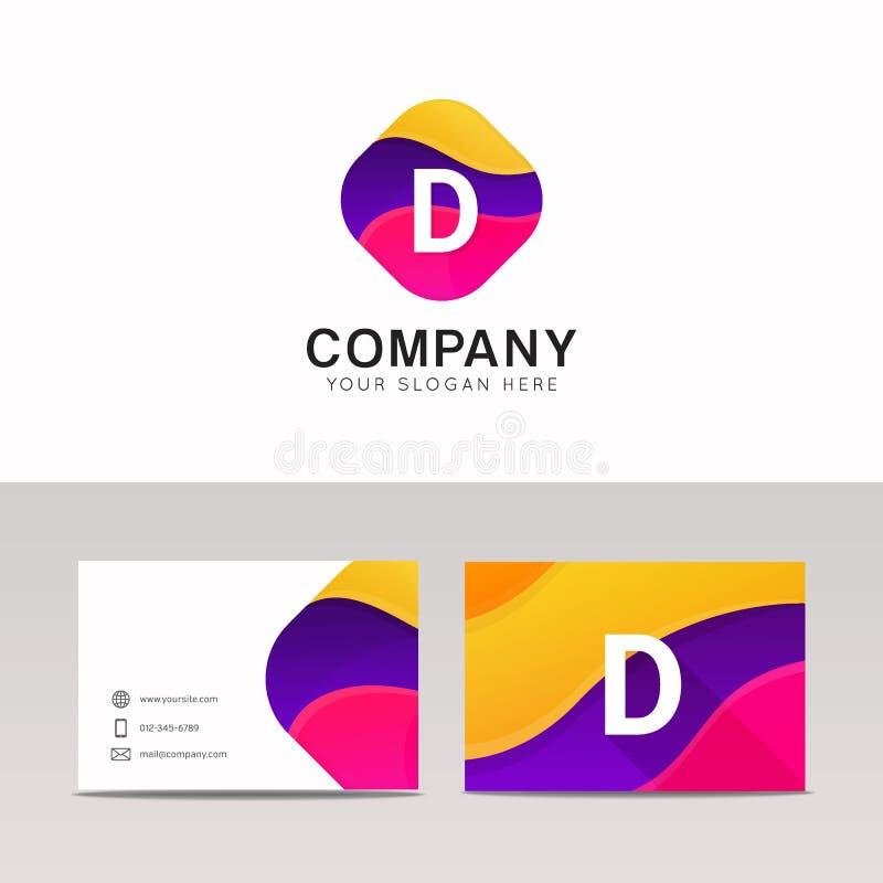 Vetor colorido abstrato do sinal do ícone do logotipo da letra da forma D do divertimento ilustração do vetor