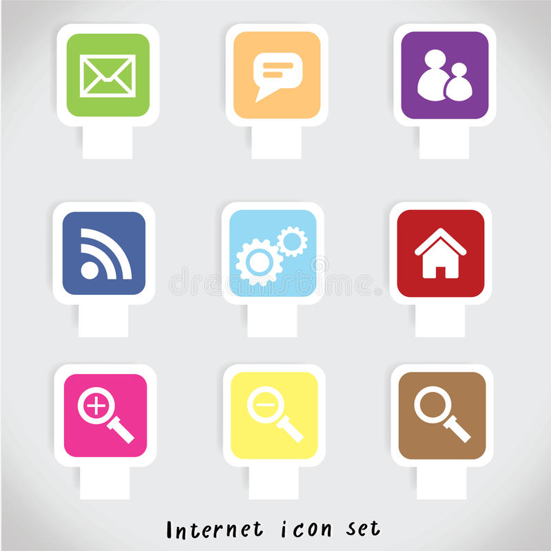 Vetor colorido ajustado do ícone do Internet fotos de stock