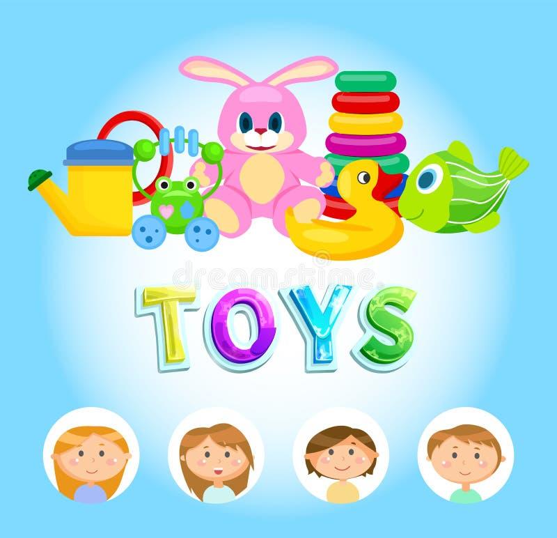 Vetor colorido brilhante dos brinquedos, das crianças e dos brinquedos ilustração stock