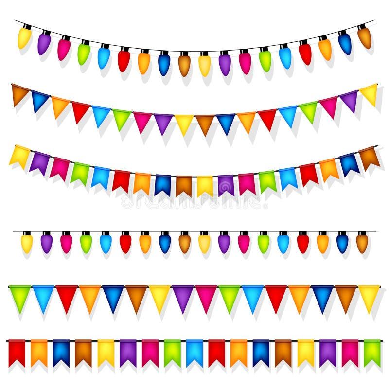 Vetor colorido das decorações do partido ilustração royalty free