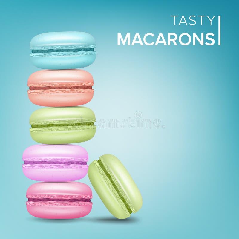 Vetor colorido de Macarons Bolinhos de amêndoa franceses doces saborosos na ilustração azul do fundo ilustração royalty free