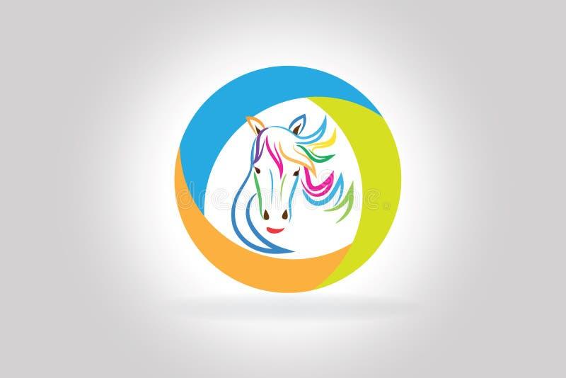 Vetor colorido do ícone da silhueta da cabeça de cavalo da beleza do logotipo ilustração stock