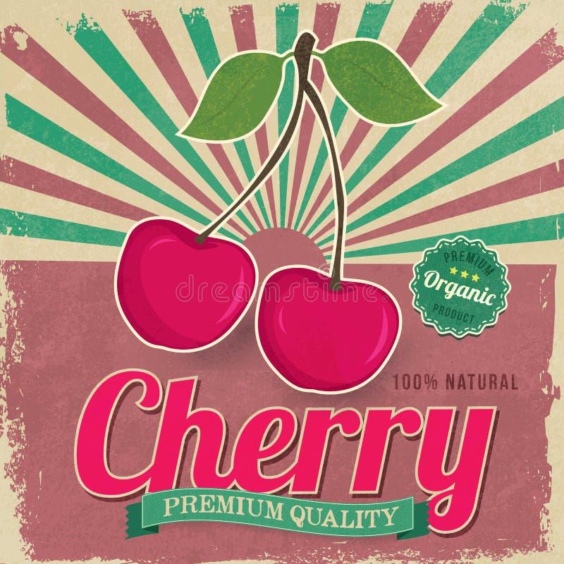 Vetor colorido do cartaz da etiqueta da cereja do vintage ilustração do vetor