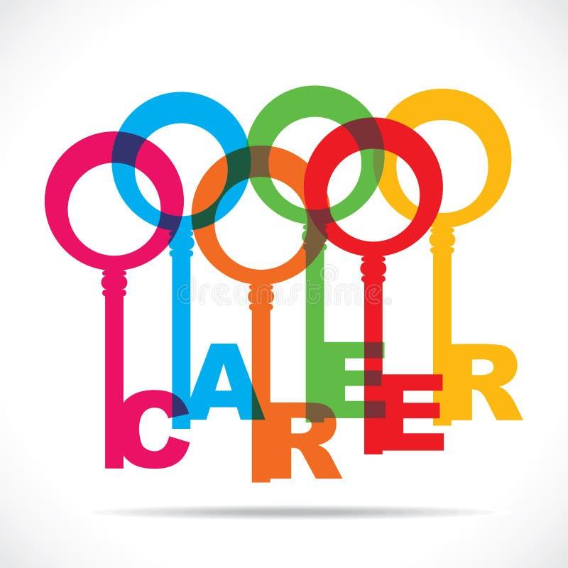 Chave colorida da palavra da carreira ilustração do vetor