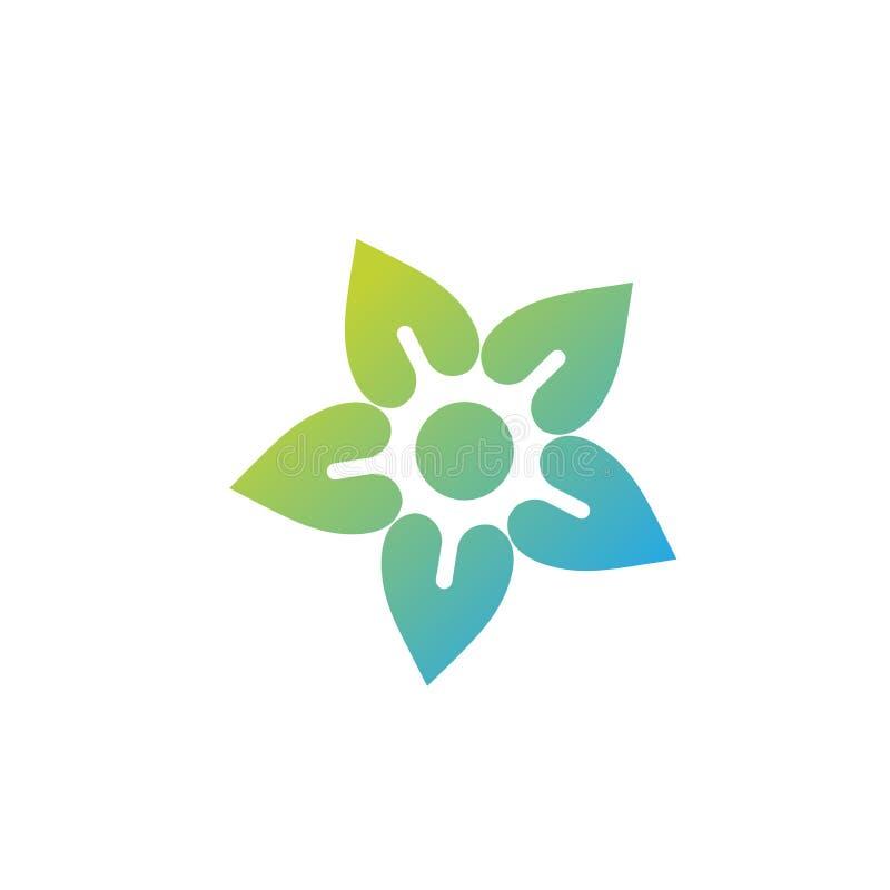 vetor colorido do logotipo do ícone da flor e do sol do vetor ilustração royalty free