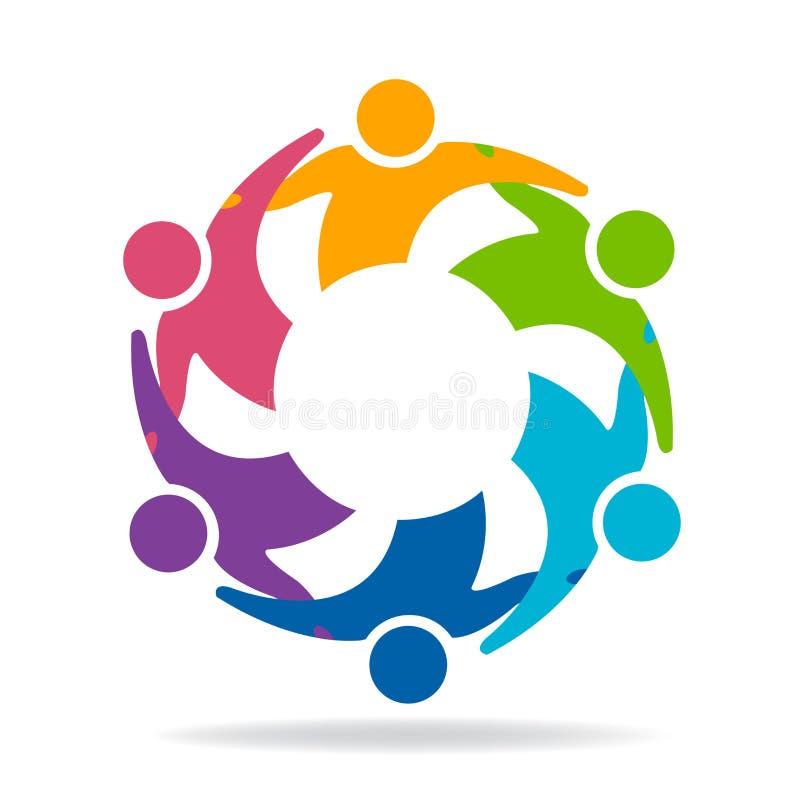 Vetor colorido do logotype do ícone dos povos do negócio da unidade da amizade dos trabalhos de equipa do logotipo ilustração do vetor
