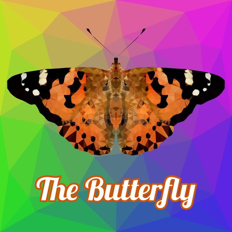 Vetor colorido do polígono da borboleta ilustração royalty free